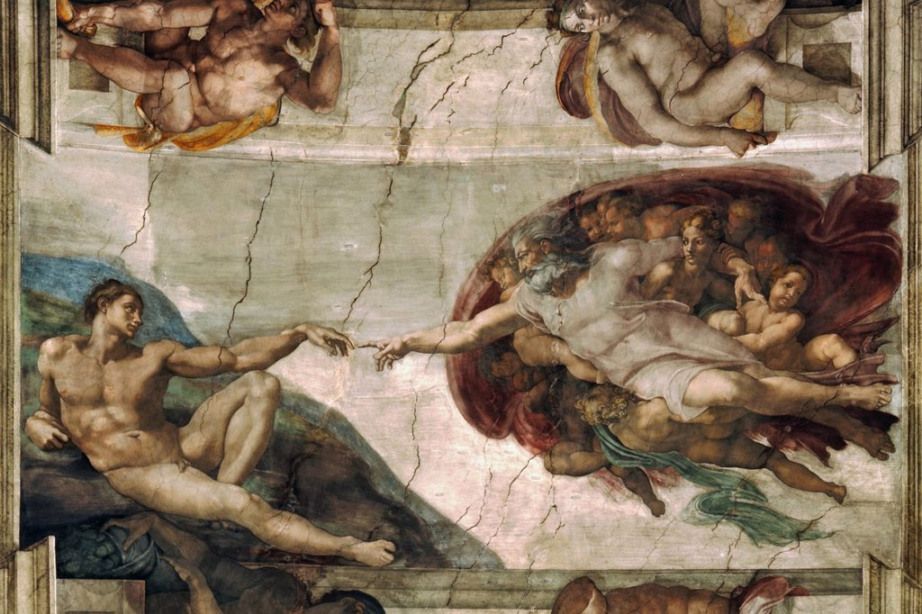Creation Of Adam by Michelangelo Buonarroti, fresco, 1508-1512, 1475-1564, Vatican, The Sistine Chapel, 480x230 : Stock Photo