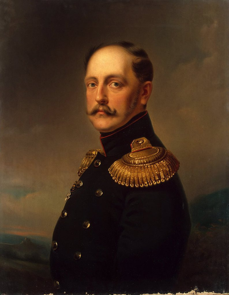 Portrait of Tsar Nicholas I by Horace Vernet, oil on canvas, 1830s, 1789-1863, Russia, St. Petersburg, State Hermitage, 55x46 : Stock Photo