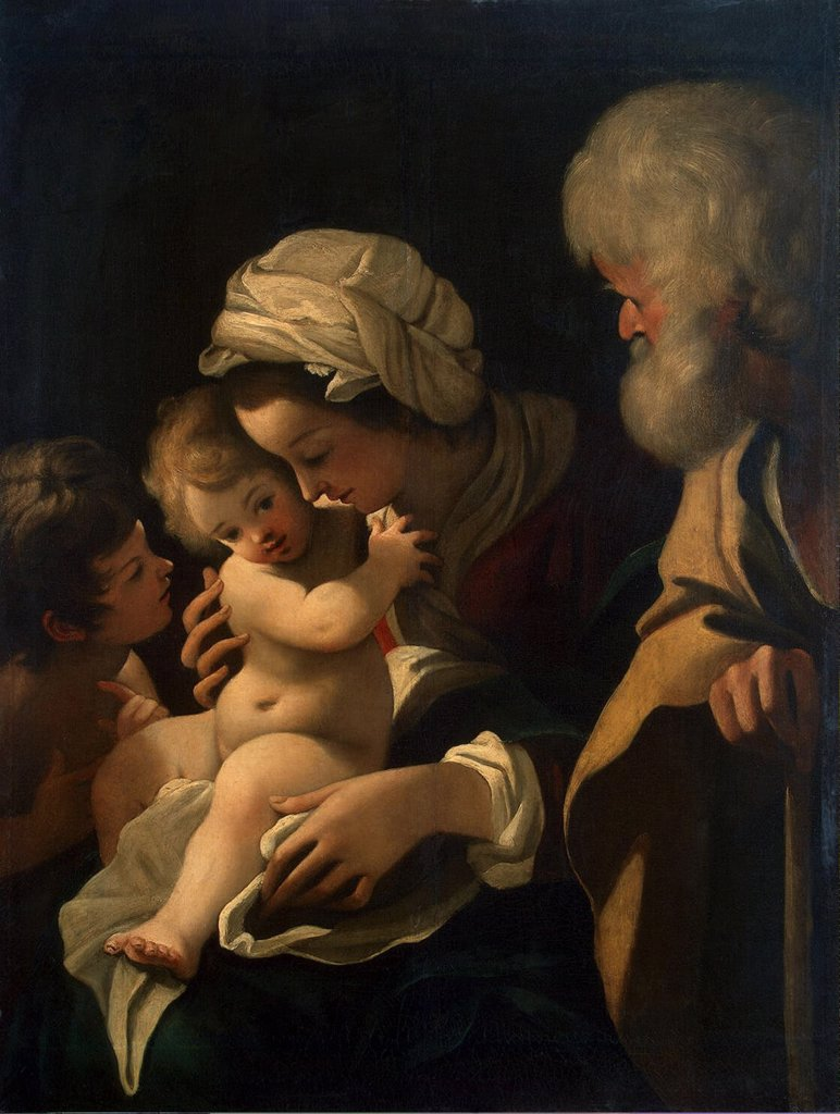 Holy Family with John the Baptist by Bartolomeo Schedone, oil on canvas, 1570-1615, Russia, St. Petersburg, State Hermitage, 65, 7x50 : Stock Photo