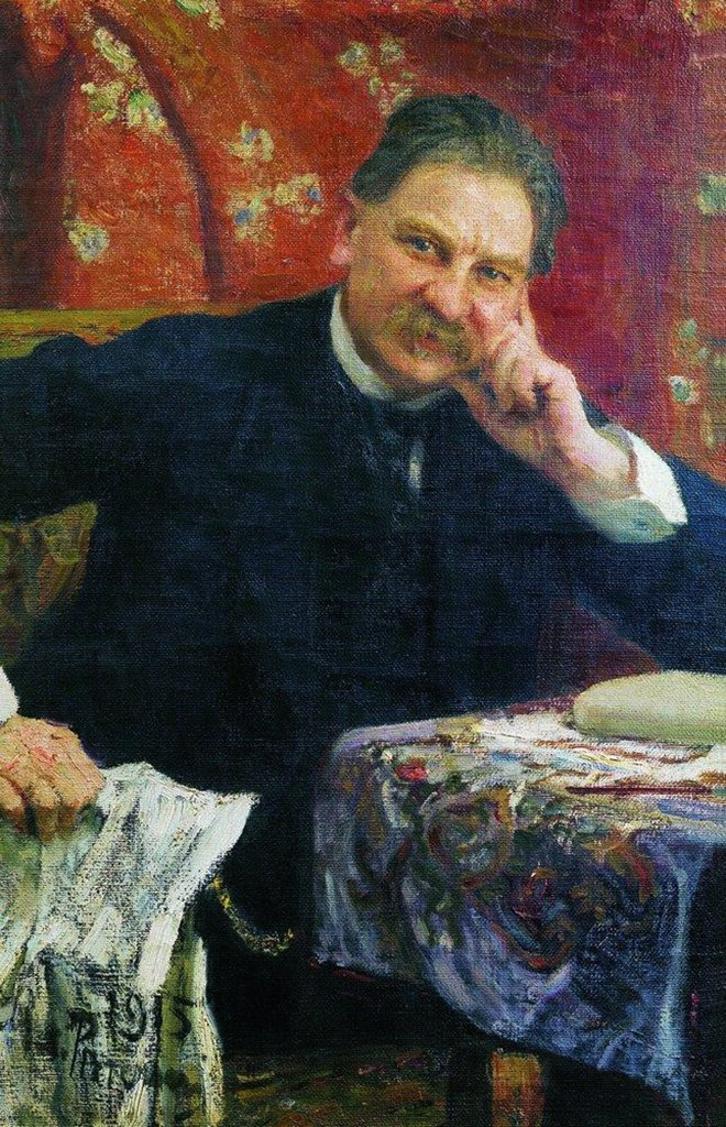 Stock Photo: 4266-5292 Portrait of J. M. Vengerov by Ilya Yefimovich Repin, Oil on canvas, 1915, 1844-1930, Russia, Bryansk, Regional Art Museum