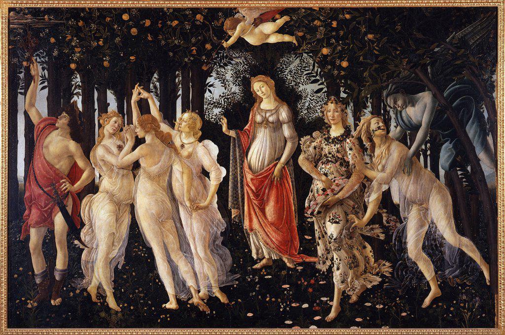 People in forest by Sandro Botticelli, Tempera on panel, circa 1480, 1445-1510, Italy, Florence, Galleria degli Uffizi, 203x314 : Stock Photo