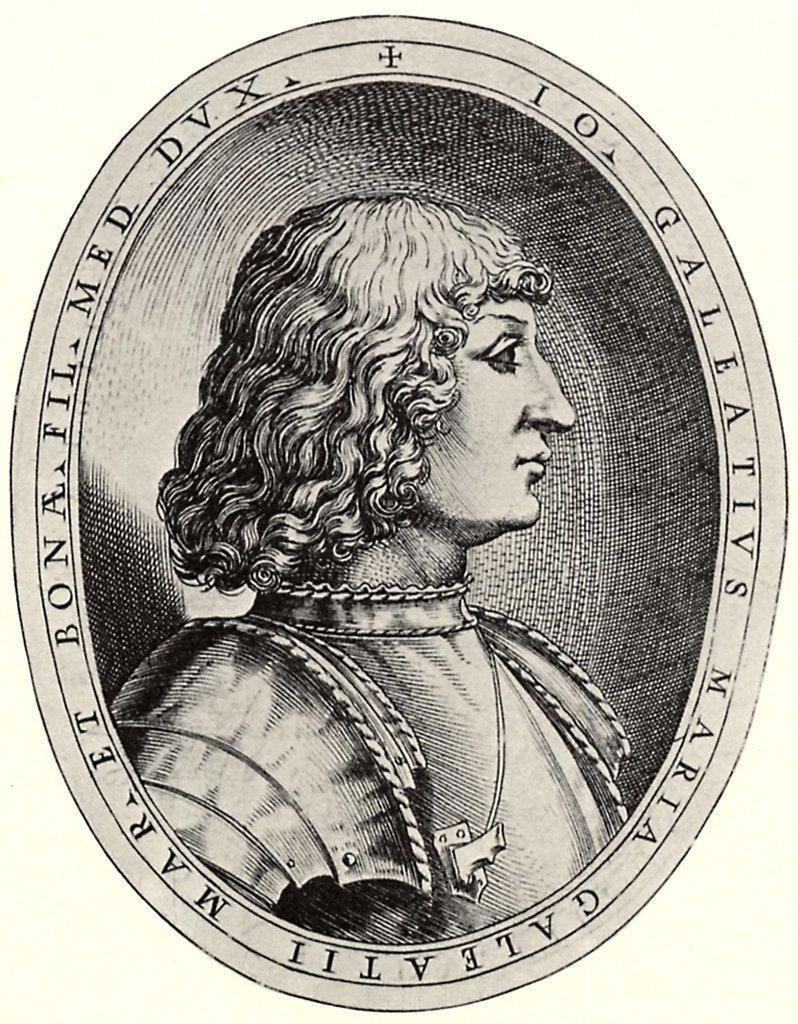 Stock Photo: 4266-5374 Portrait of duke Gian Galeazzo Sforza by Antonio Campi, Copper engraving, 1582–1584, circa 1522-1587, Private Collection, 15x11, 5