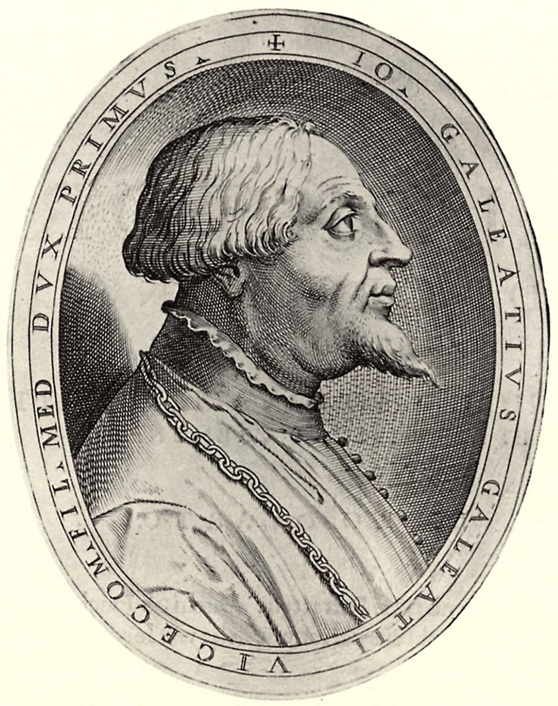 Stock Photo: 4266-5377 Portrait of Duke of Milan Gian Galeazzo Visconti by Antonio Campi, Copper engraving, 1582–1584, circa 1522-1587, Private Collection, 15x11, 5