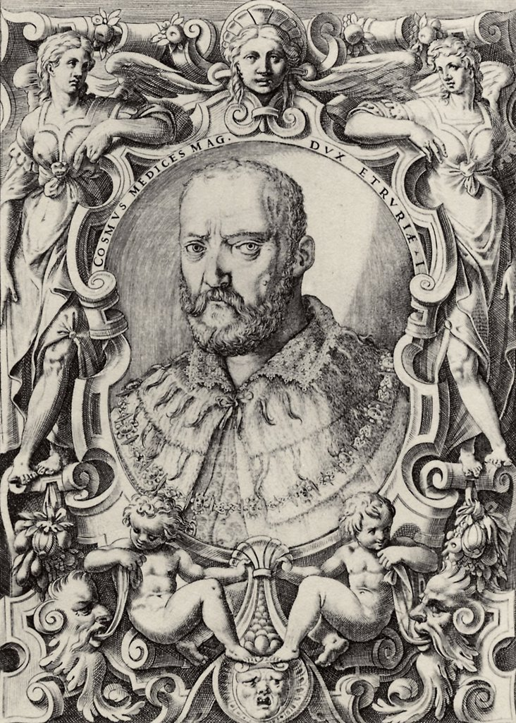 Stock Photo: 4266-5384 Portrait of Grand Duke of Tuscany Cosimo I de' Medici by Agostino Carracci, Copper engraving, 1586, 1557-1602, Private Collection, 27, 3x19, 1