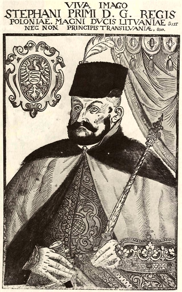 Portrait of polish king Stephen Bathory by Lucas Mayer, Woodcut, active 1566–1605, 16th century, Private Collection, 38x24 : Stock Photo