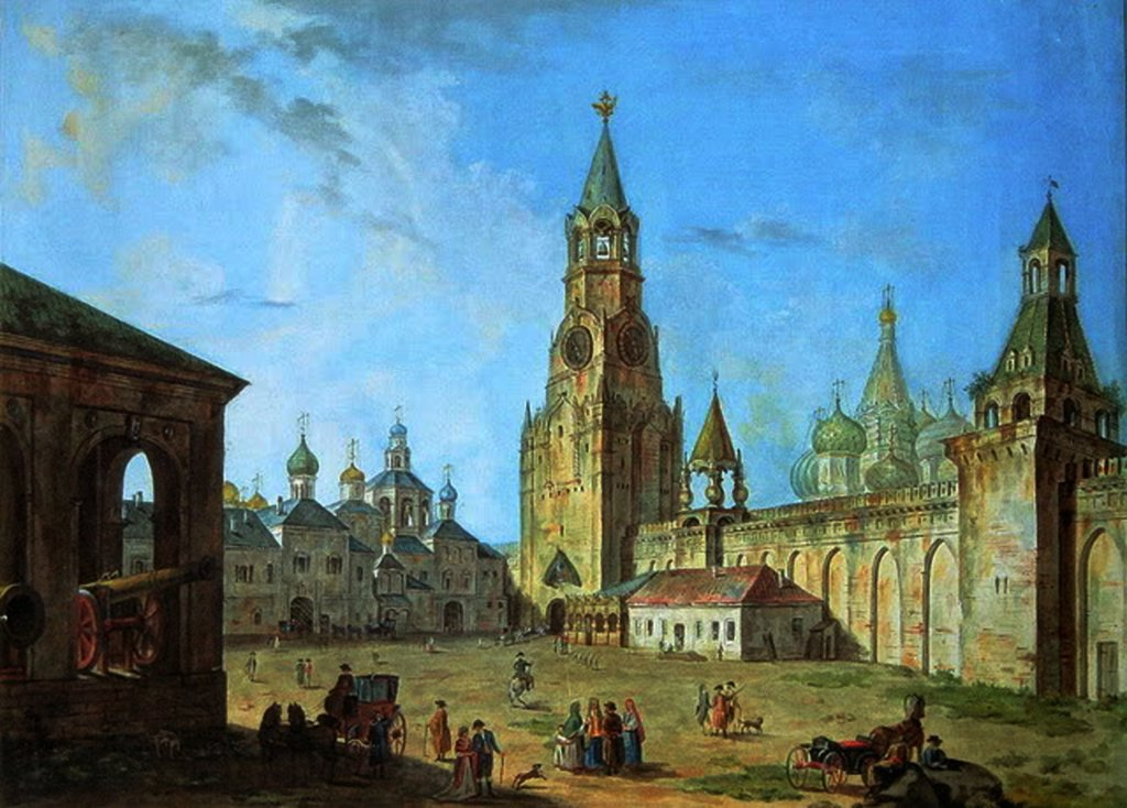 Savior Tower by Fyodor Yakovlevich Alexeyev, Watercolor on paper, 1800s, 1753-1824, Russia, Moscow, Museum of Moscow History and Reconstruction, : Stock Photo
