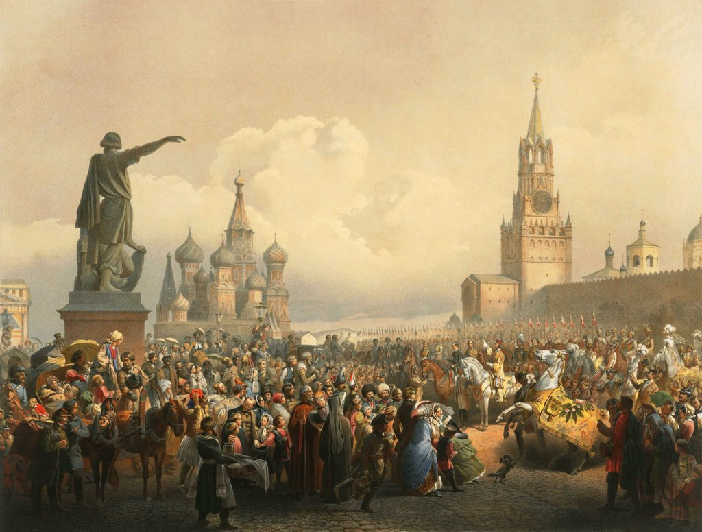 Stock Photo: 4266-5417 Crowd of people on Red Square by Vasily Timm (George Wilhelm) Color lithograph, 1865, 1820-1895, Russia, Moscow, State History Museum,