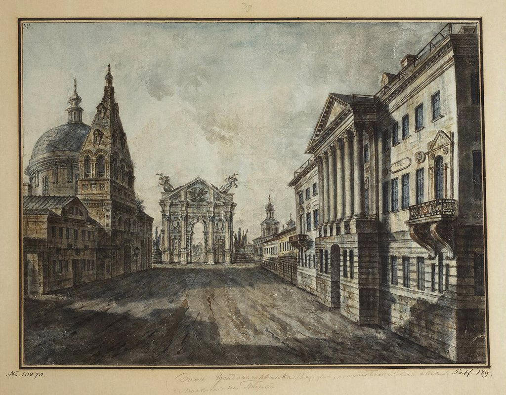 Stock Photo: 4266-5428 Strastnaya Square by Fyodor Yakovlevich Alexeyev, Watercolor and ink on paper, 1800-1810, 1753-1824, Russia, St. Petersburg, State Hermitage, 35, 1x47, 2