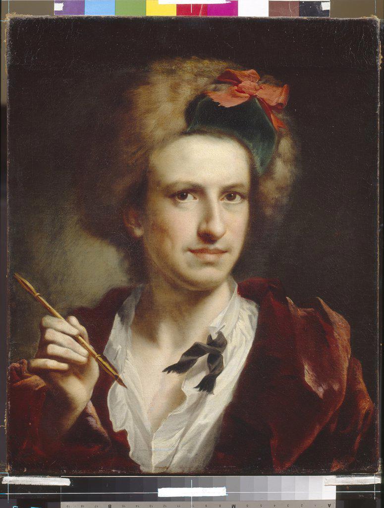 Portrait of italian engraver Francesco Bartolozzi by Anton Raphael Mengs, Oil on canvas, 1728-1779, Ukraine, Lviv, State Art Gallery : Stock Photo