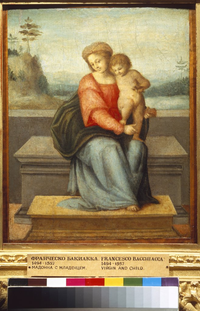 Religious illustration with Virgin Mary and Jesus Christ by Francesco Bacchiacca, Oil on wood, circa 1520, 1494-1557, Russia, Moscow, State A. Pushkin Museum of Fine Arts, 30x26 : Stock Photo