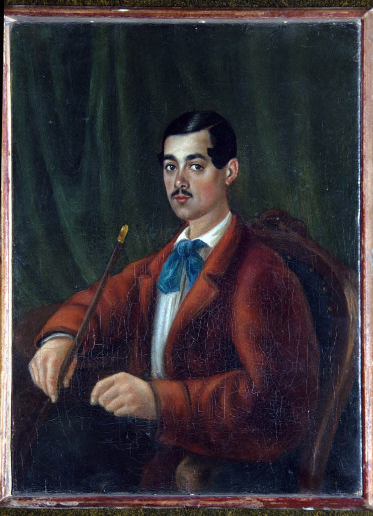 Self-portrait by Alexander Alexandrovich Bestuzhev-Marlinsky, Watercolor on paper, 1830s, 1797-1837, Russia, St Petersburg, Institut of Russian Literature IRLI, Pushkin-House : Stock Photo