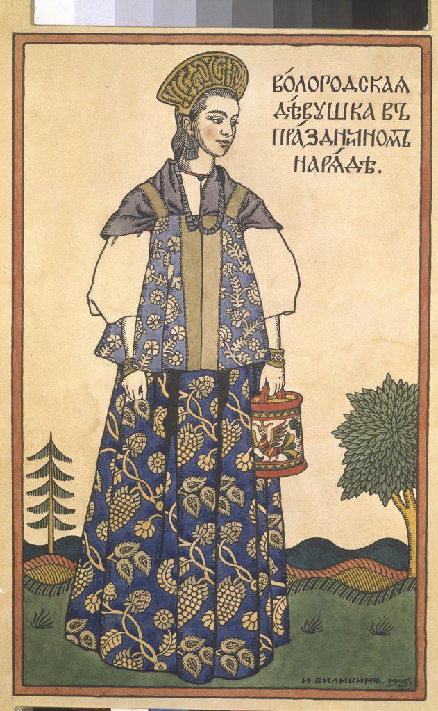 Bilibin, Ivan Yakovlevich (1876-1942) Private Collection 1905 Colour lithograph Art Nouveau Russia  : Stock Photo