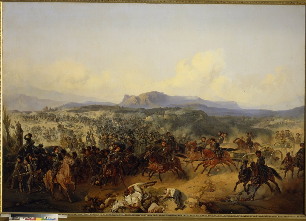 Stock Photo: 4266-5622 Caucasian War by Gottfried Willewalde (Bogdan Pavlovich), Oil on canvas, 1855, Neoclassicism, 1818-1903, Russia, St. Petersburg, State Central Artillery Museum,