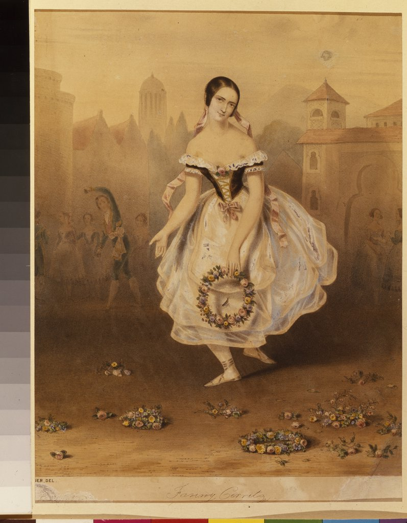 Ballet dancer by Anonymous artist, Color lithograph, 1830s, Neoclassicism, Russia, St. Petersburg, State Museum of Theatre and Music Art, : Stock Photo