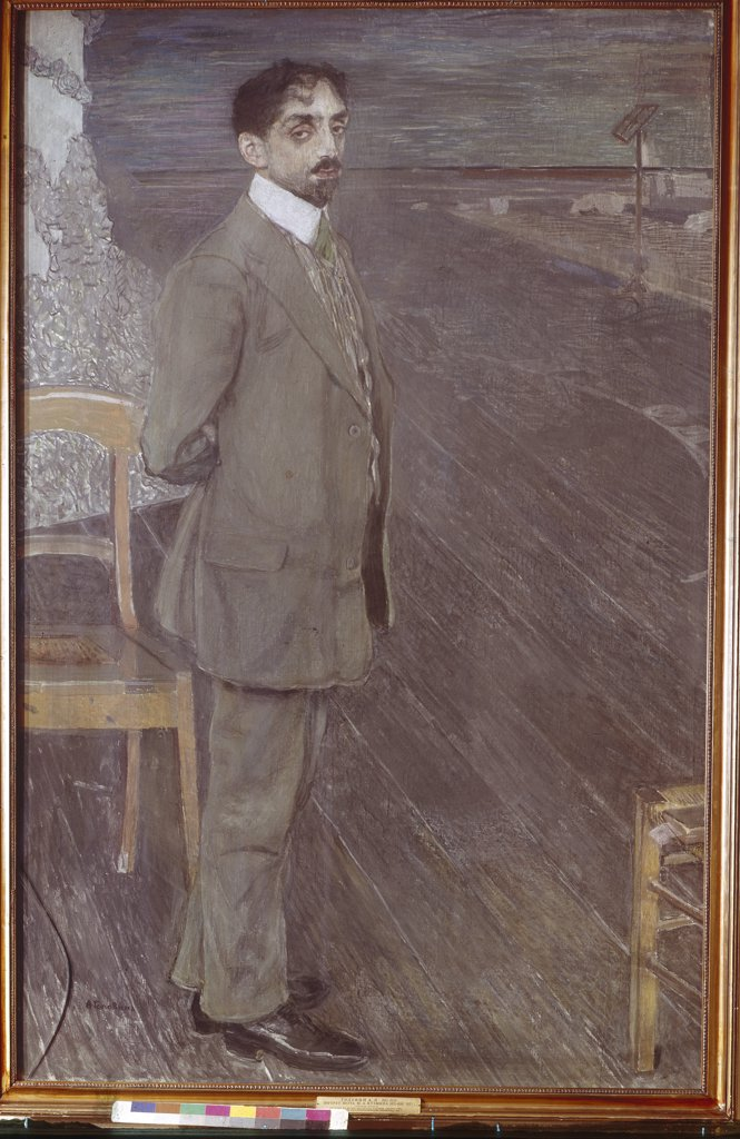 Stock Photo: 4266-5654 Portrait of Mikhail Kuzmin by Alexander Yakovlevich Golovin, Tempera and pastel on canvas, 1910, 1863-1930, Russia, Moscow, State Tretyakov Gallery, 178x169