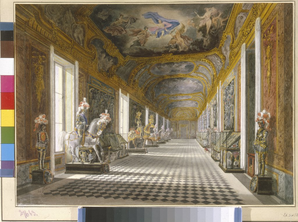 Stock Photo: 4266-5659 Royal Armory of Turin by Francesco Gonin, Watercolor on paper, Neoclassicism, 1808-1889, Russia, St. Petersburg, State Hermitage,