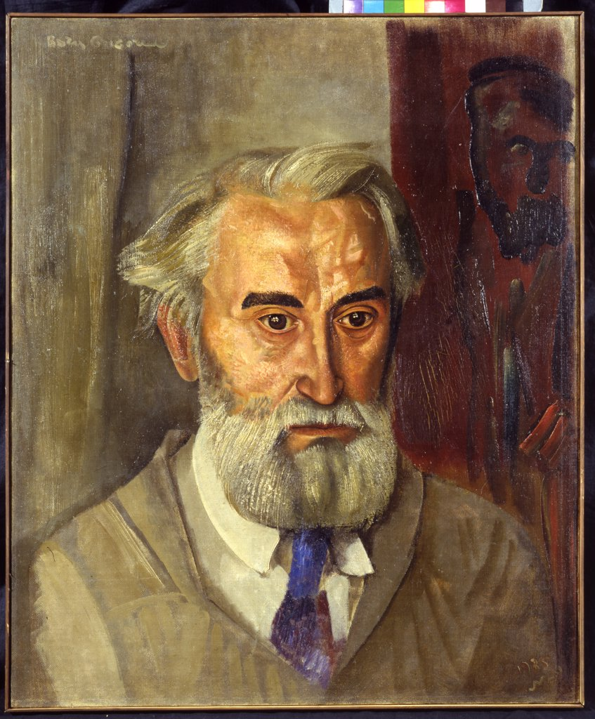 Stock Photo: 4266-5669 Portrait of Sergey Konenkov by Boris Dmitryevich Grigoriev, Oil on canvas, 1935, Expressionism, 1886-1939, Private Collection 178x220