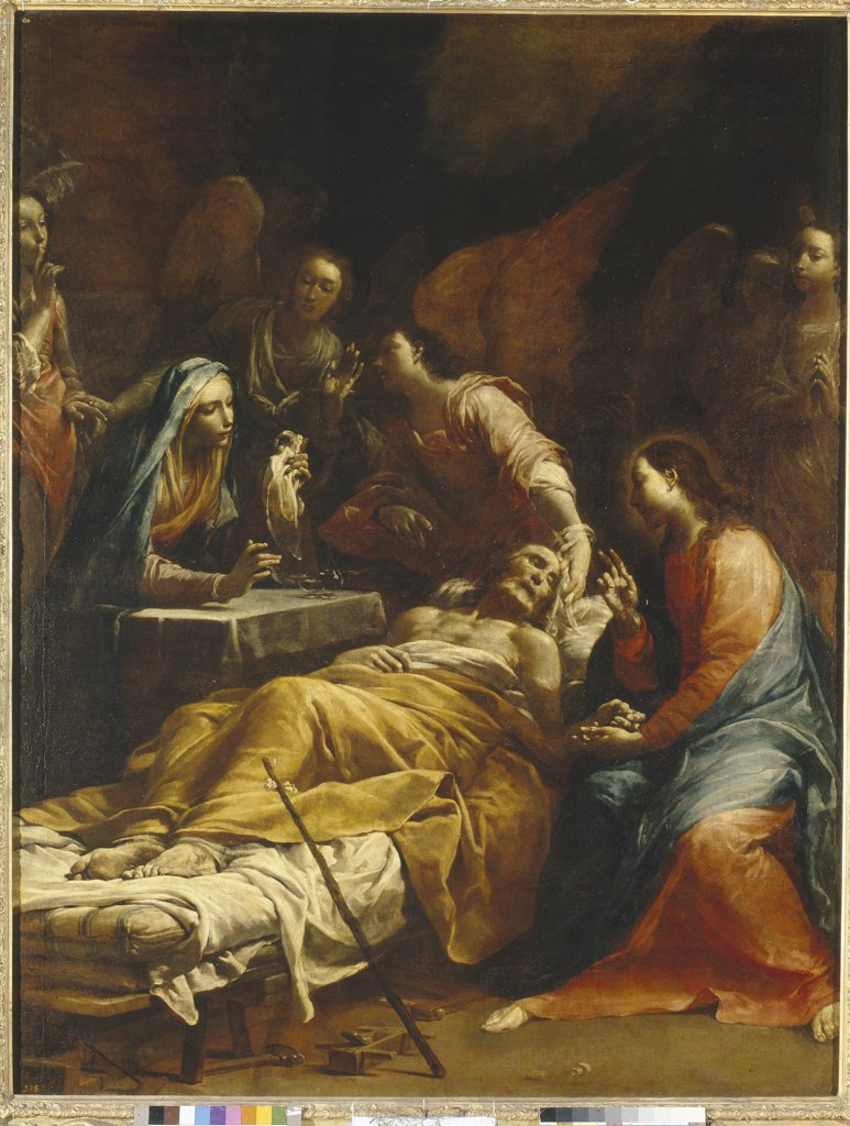 Joseph's death by Giuseppe Maria Crespi, Oil on canvas, circa 1712, 1665-1747, Russia, St. Petersburg, State Hermitage, 234, 5x187 : Stock Photo