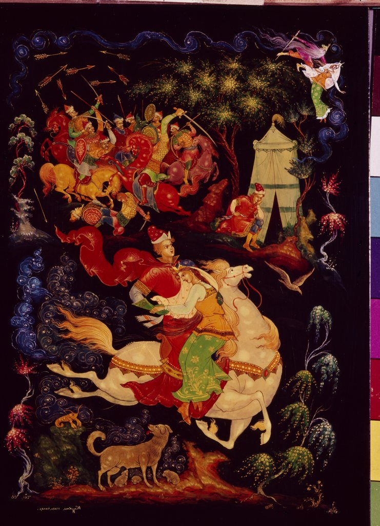 Stock Photo: 4266-5761 Kurkin, Alexander Michailovich (*1946) Museum of Palekh Russian Lacquer Art, Palekh Tempera on varnished Applied Arts Russia, School of Palekh Mythology, Allegory and Literature