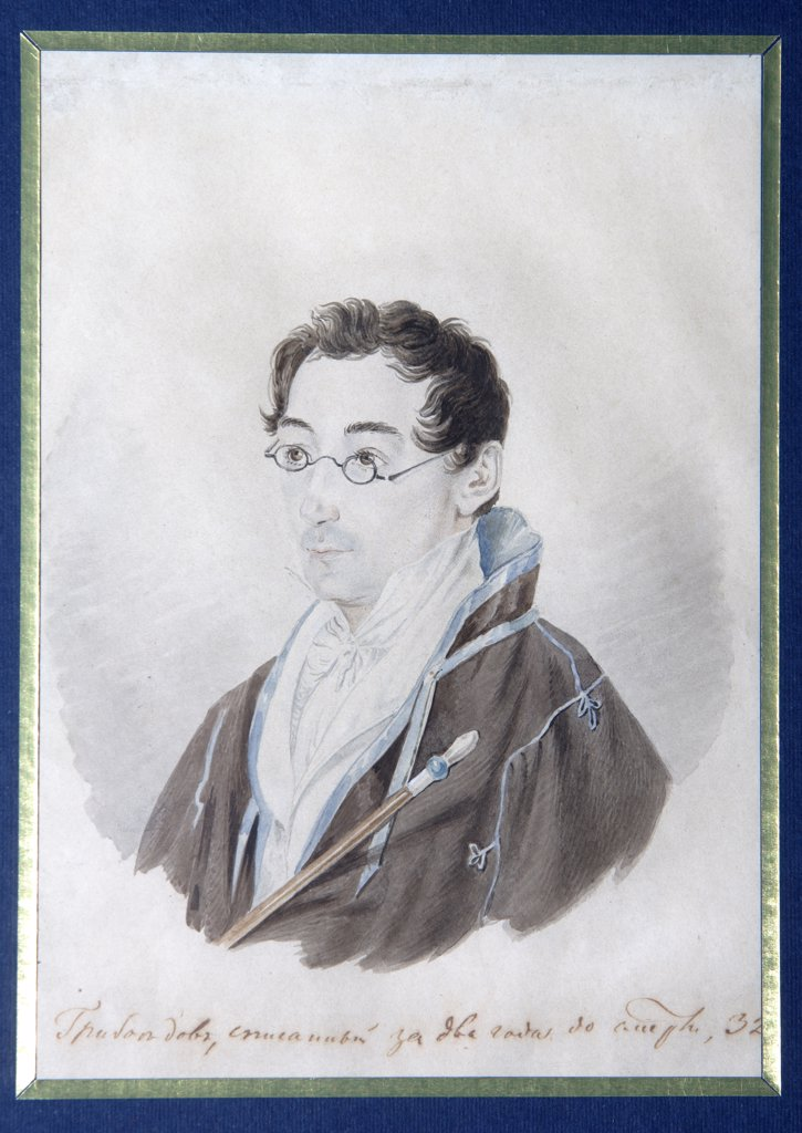 Portrait of Alexander Griboyedov by Vladimir Ivanovich Moshkov, Watercolour on paper, 1827, Classicism, 1792-1839, Russia, Moscow, State Central Literary Museum, : Stock Photo