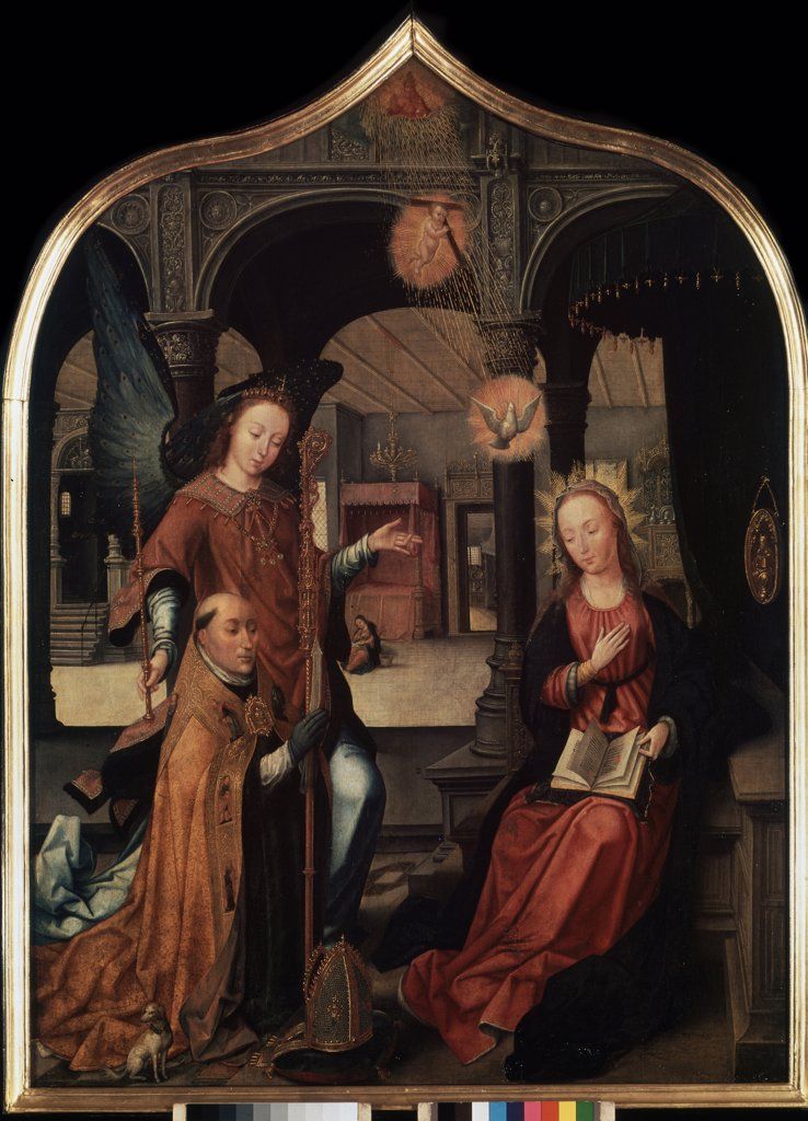 Stock Photo: 4266-5855 Virgin Mary and Archangel Gabriel by Jean Bellegambe, Oil on canvas, 1517, 1470-1534, Russia, St. Petersburg, State Hermitage, 109,5x80