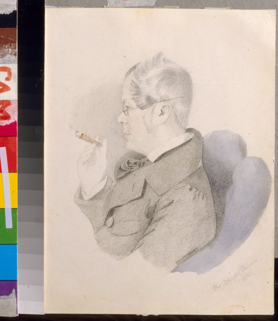 Portrait of Pyotr Vyazemsky by Thomas Wright, Pencil, watercolor on paper, 1844, Classicism, 1792-1849, Russia, Moscow, State Central Literary Museum, 18,4x15,2 : Stock Photo
