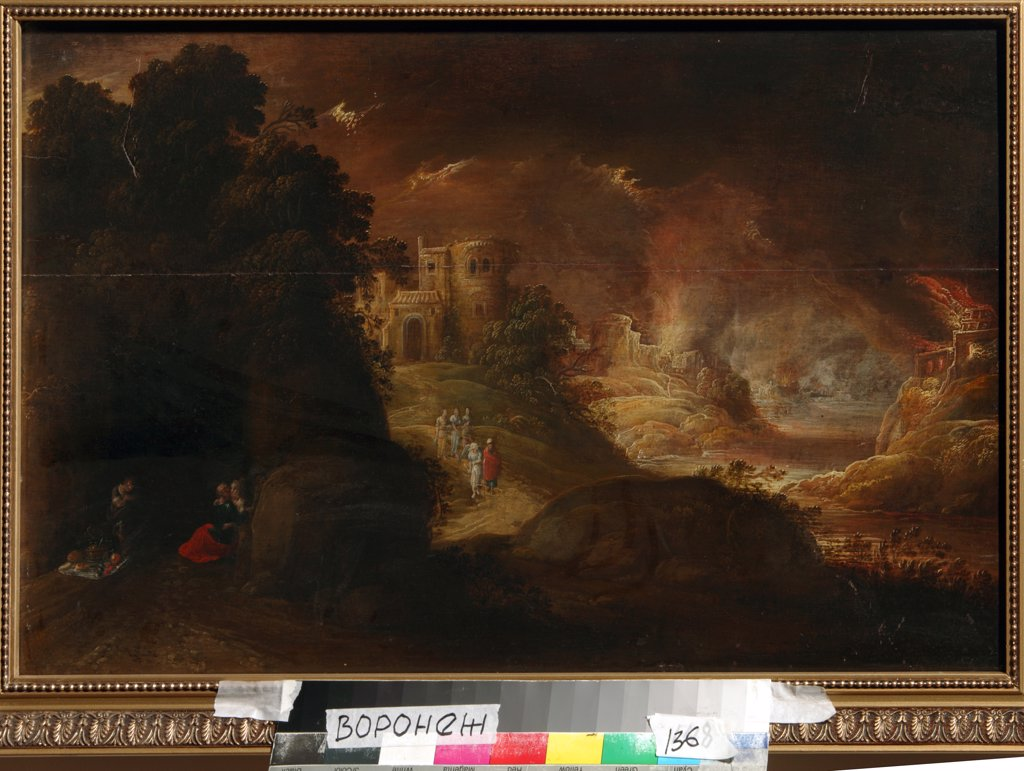 Stock Photo: 4266-5957 Fire on hill by Rombout van Troyen, Oil on canvas, Baroque, circa1605-circa 1650, Russia, Voronezh, Regional I. Kramskoi Art Museum,