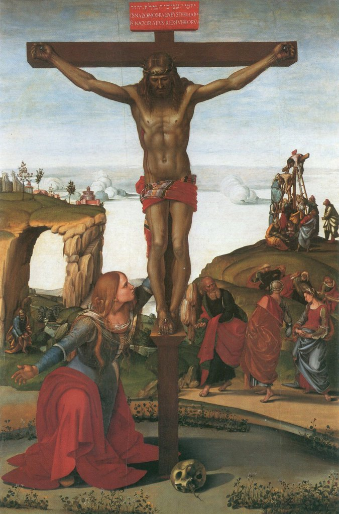 Stock Photo: 4266-6062 Crucifixion by Luca Signorelli, Tempera on panel, circa 1500, Renaissance, circa 1441-1523, Italy, Florence, Galleria degli Uffizi, 248x165
