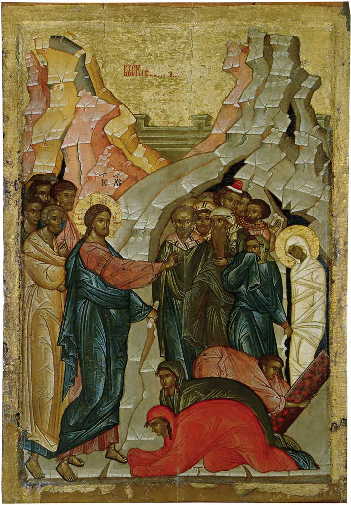 Stock Photo: 4266-6067 Resurrection Of Lazarus by unknown artist, Tempera on panel, 1480s, Russia, Novgorod, State Open-air Museum of History and Architecture Novgorodian Kremlin, 89x58