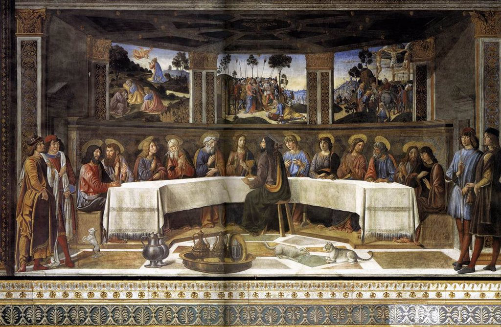 Stock Photo: 4266-6068 Last Supper by Cosimo di Lorenzo Rosselli, Fresco, circa 1481-1482, 1439-1507, Vatican, The Sistine Chapel, 350x572