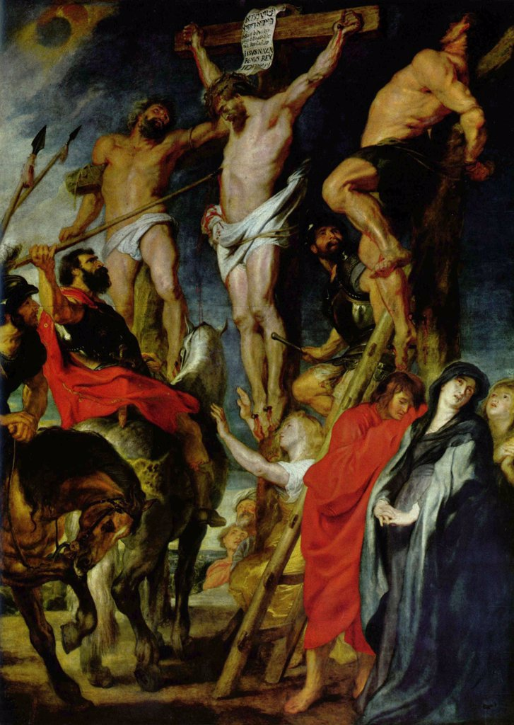 Stock Photo: 4266-6073 Crucifixion by Pieter Paul Rubens, Oil on wood, 1620, 1577-1640, Belgium, Antwerp, Royal Museum of Fine Arts, 429x311