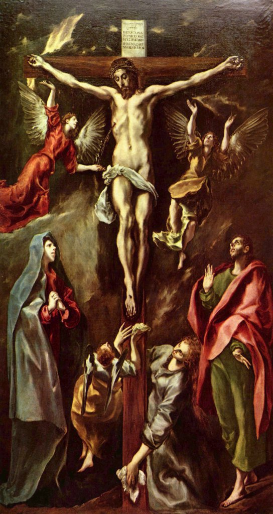Crucifixion by Dominico El Greco, Oil on canvas, 1590–1600, 1541-1614, Spain, Madrid, Museo del Prado, 312x169 : Stock Photo