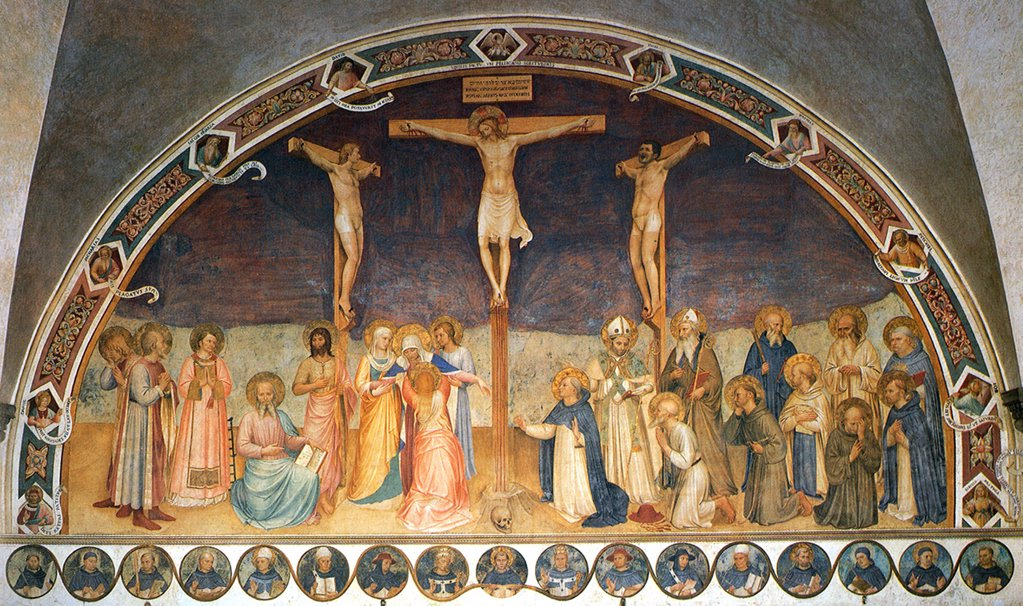 Stock Photo: 4266-6079 Crucifixion by Fra Giovanni Angelico, Fresco, 1441-1442, circa 1400-1455, Italy, Florence, San Marco