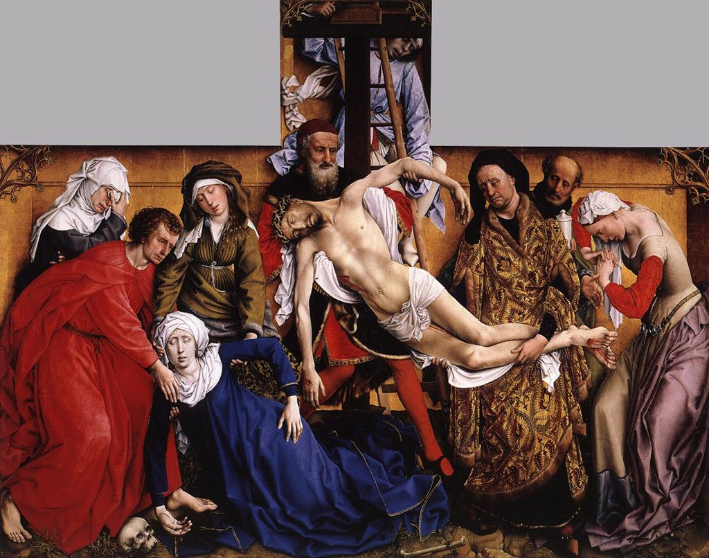 Stock Photo: 4266-6080 Descent from the cross by Rogier van der Weyden, Oil on wood, circa 1435, circa 1399-1464, Spain, Madrid, Museo del Prado, 220x262