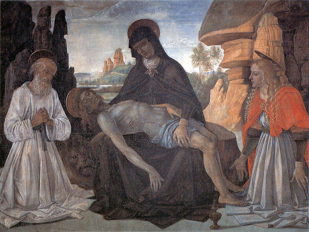 Stock Photo: 4266-6081 Our Lady Of Sorrows by Perugino, Tempera on panel, circa 1470, circa 1450-1523, Italy, Perugia, Galleria Nazionale dell'Umbria, 128x165