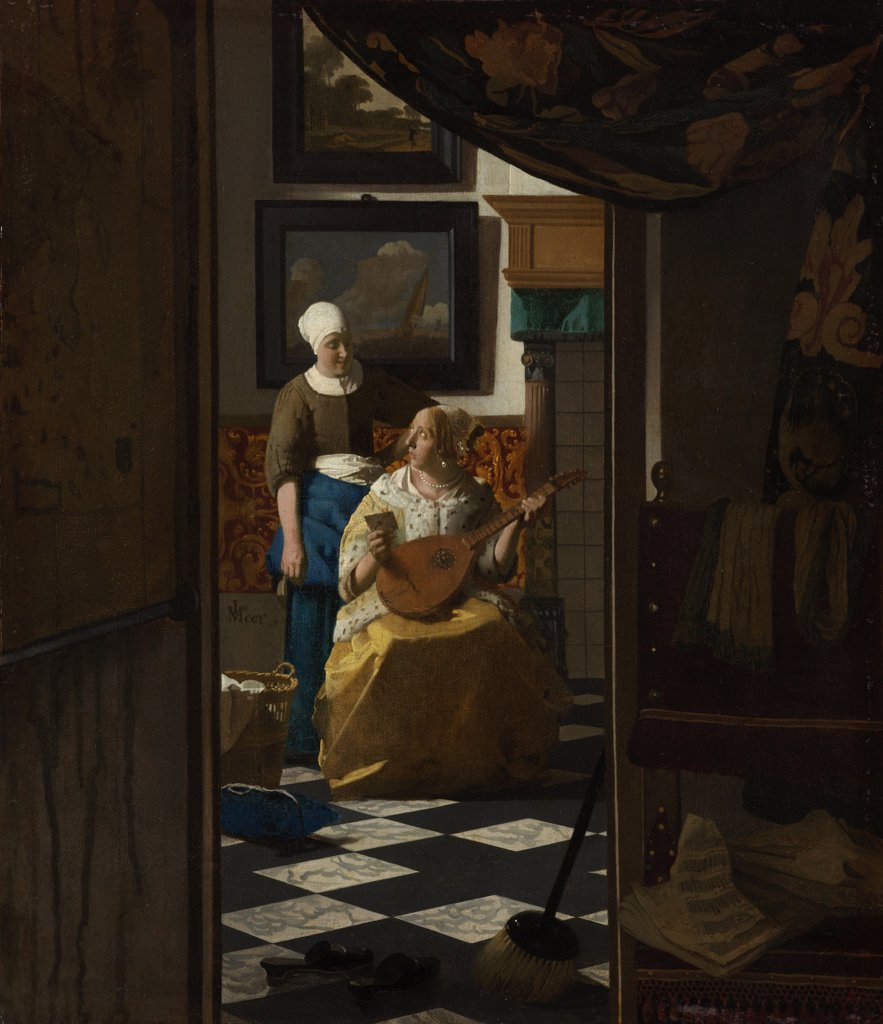 Stock Photo: 4266-6091 Mistress and her maid by Jan Vermeer, Oil on canvas, circa 1670, 1632-1675, Netherlands, Amsterdam, Rijksmuseum, 44x38,5