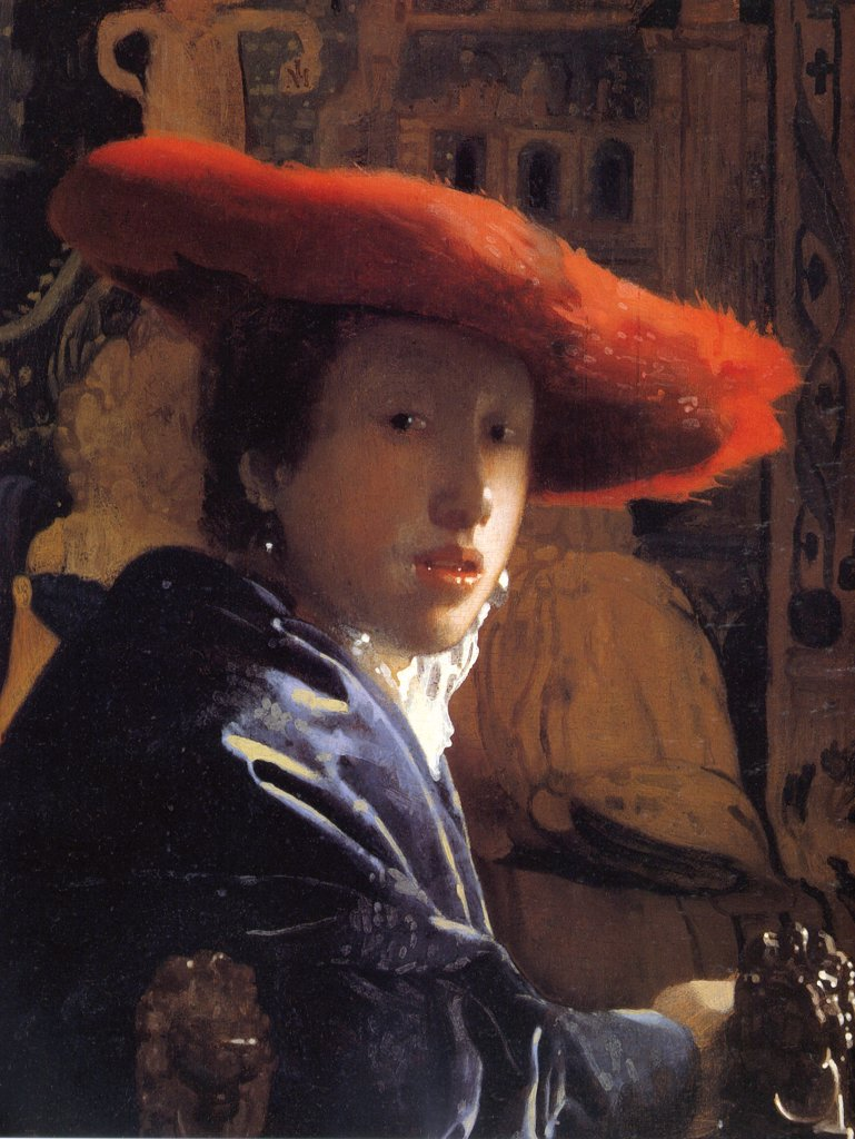 Stock Photo: 4266-6092 Portrait of young woman by Jan Vermeer, Oil on wood, circa 1665-1667, 1632-1675, U.S.A., Washington, National Gallery of Art, 22,8x18