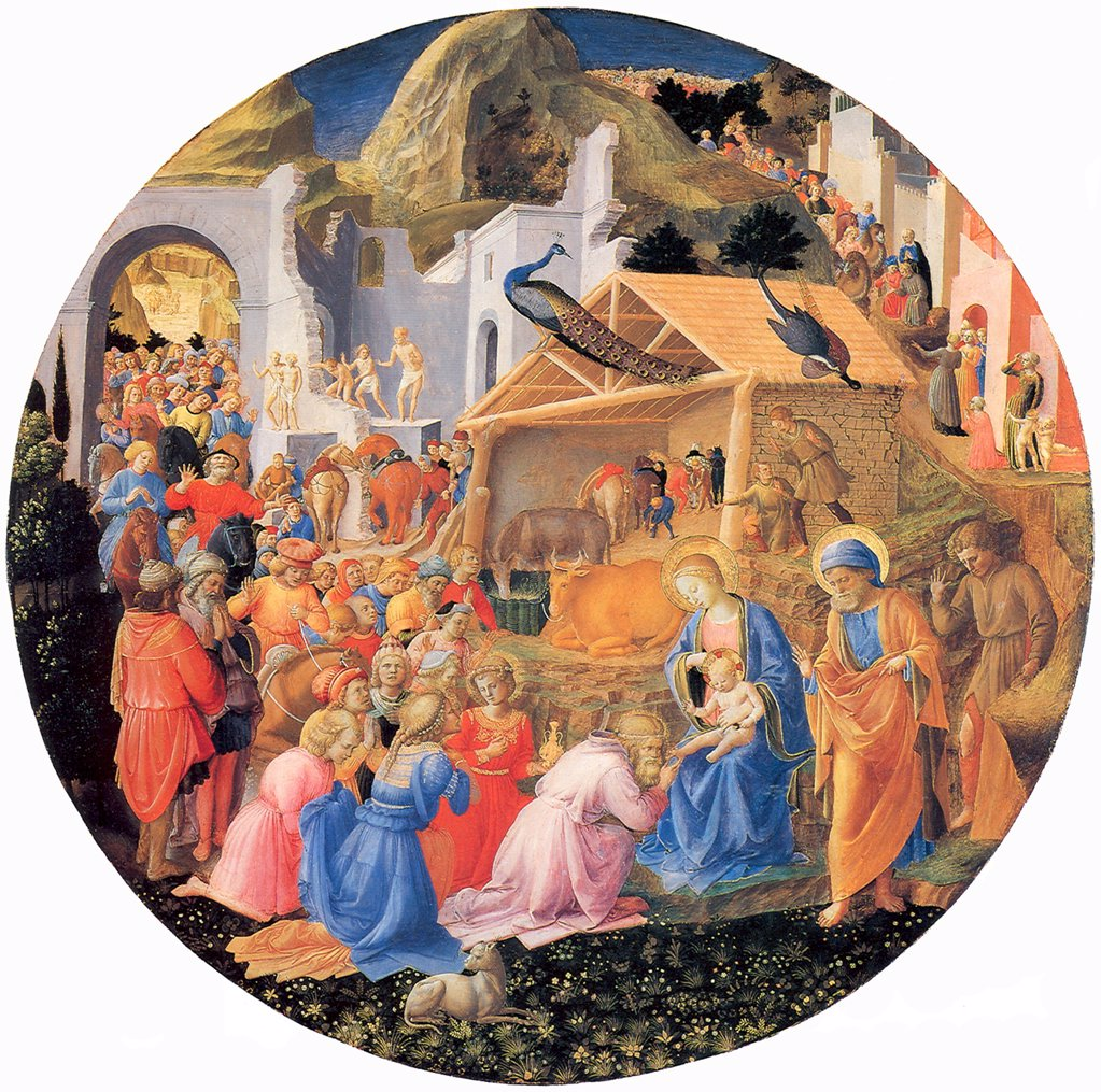 Stock Photo: 4266-6159 Virgin in Adoration by Fra Giovanni da Fiesole (Fra Giovanni Angelico), Tempera on panel, circa 1440-1460, Renaissance, circa 1400-1455, Usa, Washington, National Gallery of Art, D 137,3
