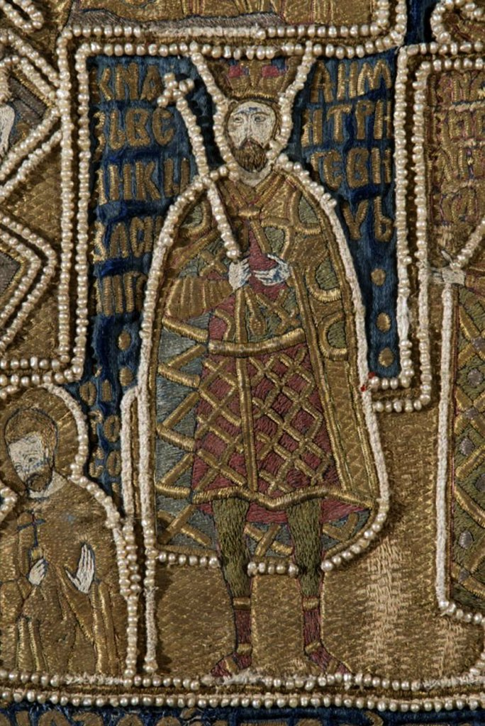 Vasily I of Moscow, Ancient Russian Art, Wool, silk, gold and silver threads, circa 1417, Applied Arts, Russia, Moscow, State Armoury Chamber in the Kremlin : Stock Photo