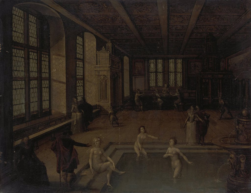 Stock Photo: 4266-6223 Bathhouse by Louis de Caulery, Oil on copper, 17th century, Baroque, before 1582-after 1621, Russia, St. Petersburg, State Hermitage, 28x37
