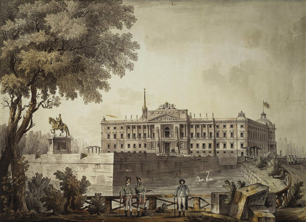 Mikhailovsky Palace by Giacomo Antonio Domenico Quarenghi, Watercolour and ink on paper, 1800, Classicism, 1744-1817, Russia, St. Petersburg, State Hermitage, 46x63,3 : Stock Photo