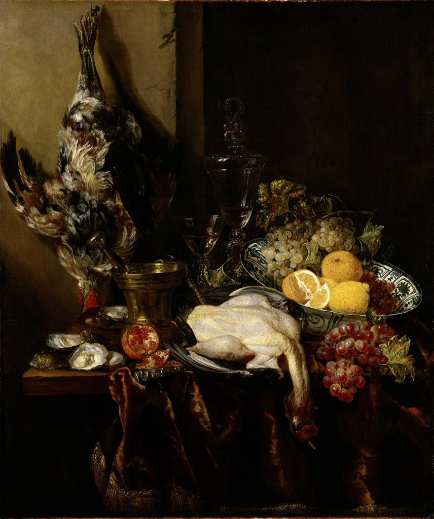 Still life with dead pheasant and fruits by Abraham Hendricksz van Beyeren, Oil on canvas, circa 1680, Baroque, 1620/21-1690, Germany, Dusseldorf, Museum Kunst Palast, 104x88,8 : Stock Photo