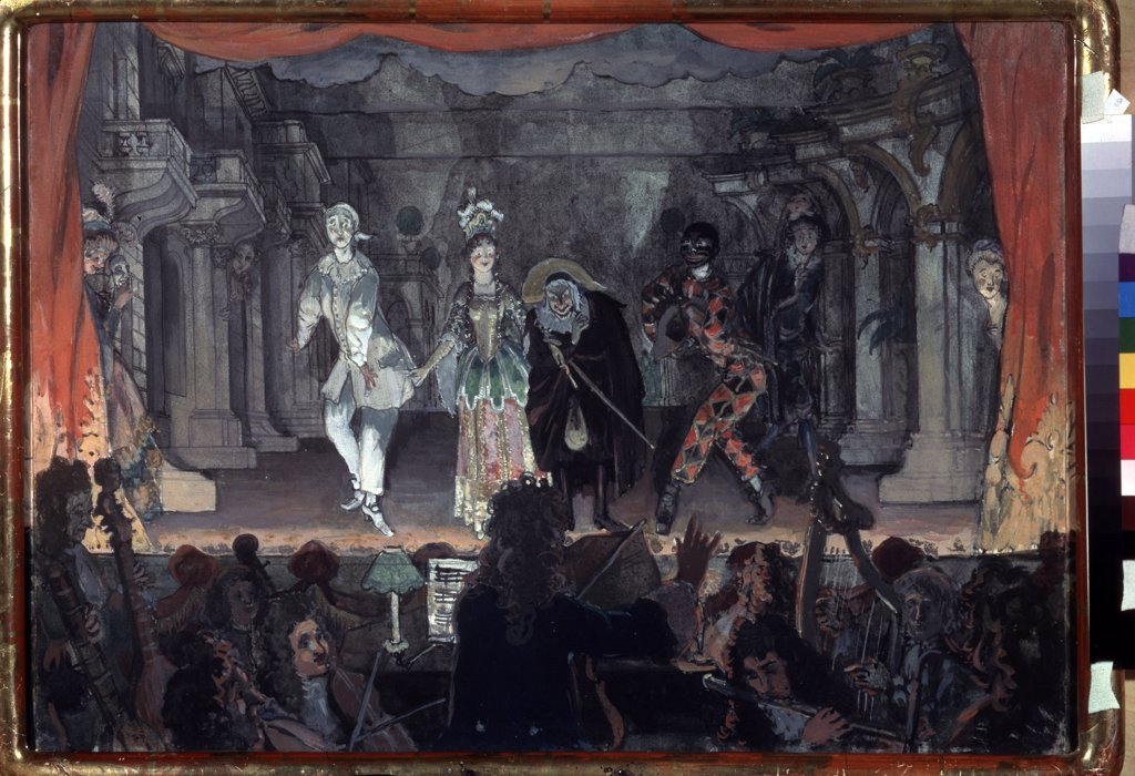 Stock Photo: 4266-6251 Commedia dell 'Arte by Alexander Nikolayevich Benois, Watercolor, Gouache on Paper, 1905, 1870-1960, Russia, Moscow, State Tretyakov Gallery, 49,6x67,4