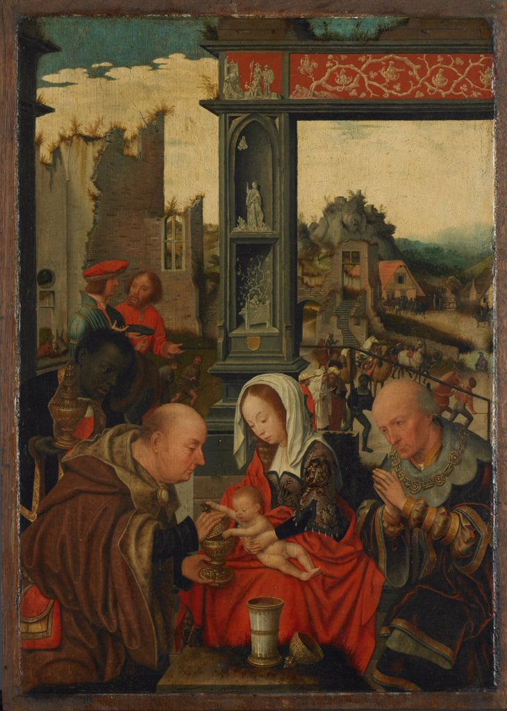 Stock Photo: 4266-6299 Adoration of Christ Child by Jan Mostaert, oil on wood, 1525, 1472/73-1555/56, Holland, Amsterdam, Rijksmuseum, 51x36,7