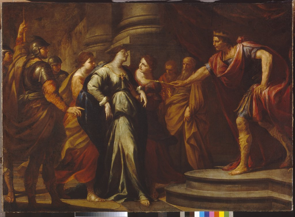 Scene from Old Testament by Andrea Vaccaro, oil on canvas, 1640s, 1604-1670, Russia, Moscow, State A. Pushkin Museum of Fine Arts, 142x197 : Stock Photo