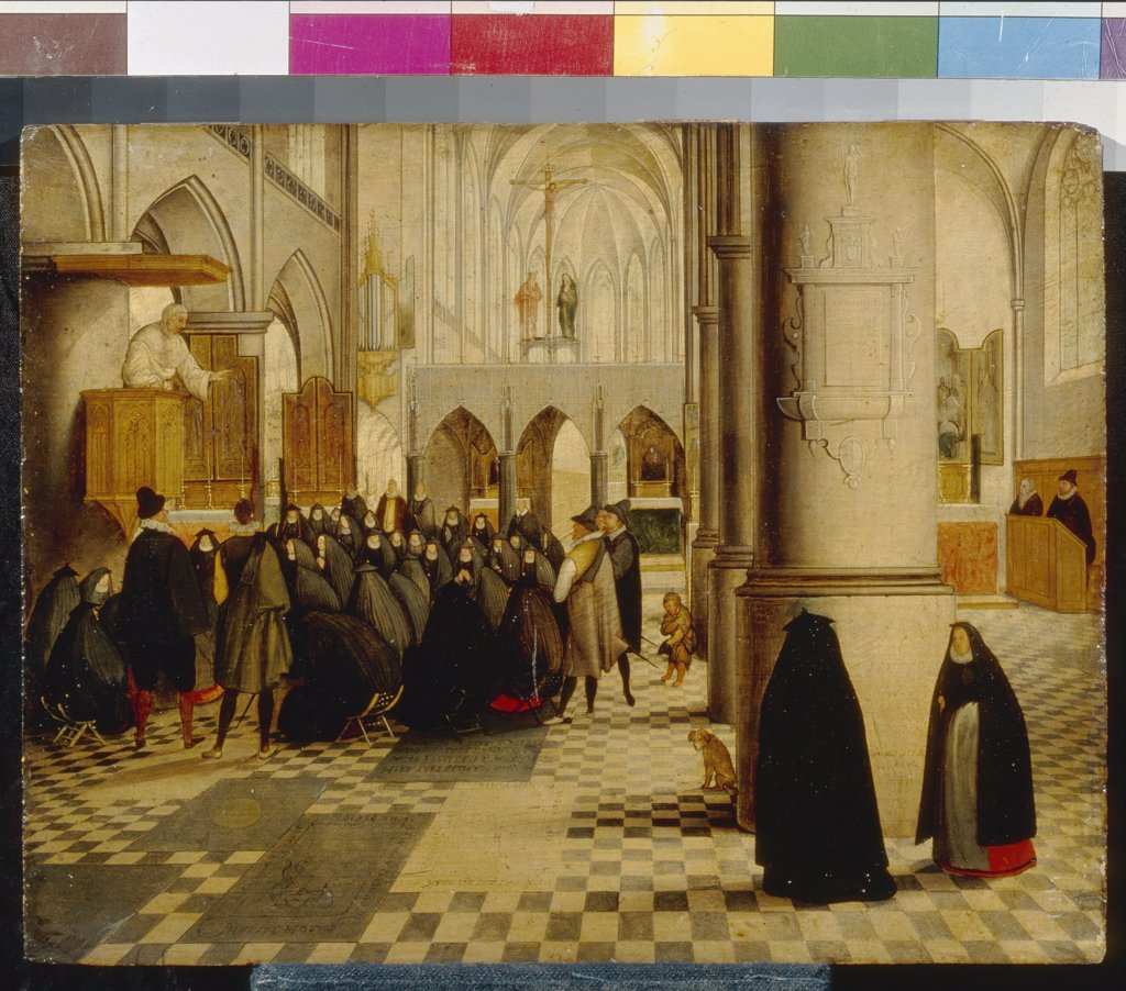 Stock Photo: 4266-6371 Church service by Abel Grimmer, Oil on wood, 1597, 1570-1619, Russia, Moscow, State A. Pushkin Museum of Fine Arts, 20x26