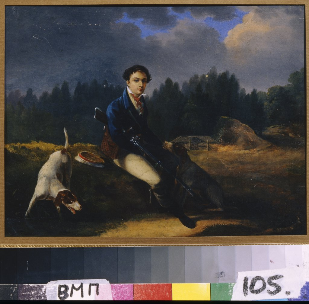 Man holding ruffle by Auguste-Joseph Desrnod, Oil on canvas, 1817, 1788-1840, Russia, Moscow, State Museum of A.S. Pushkin, 16x20,4 : Stock Photo