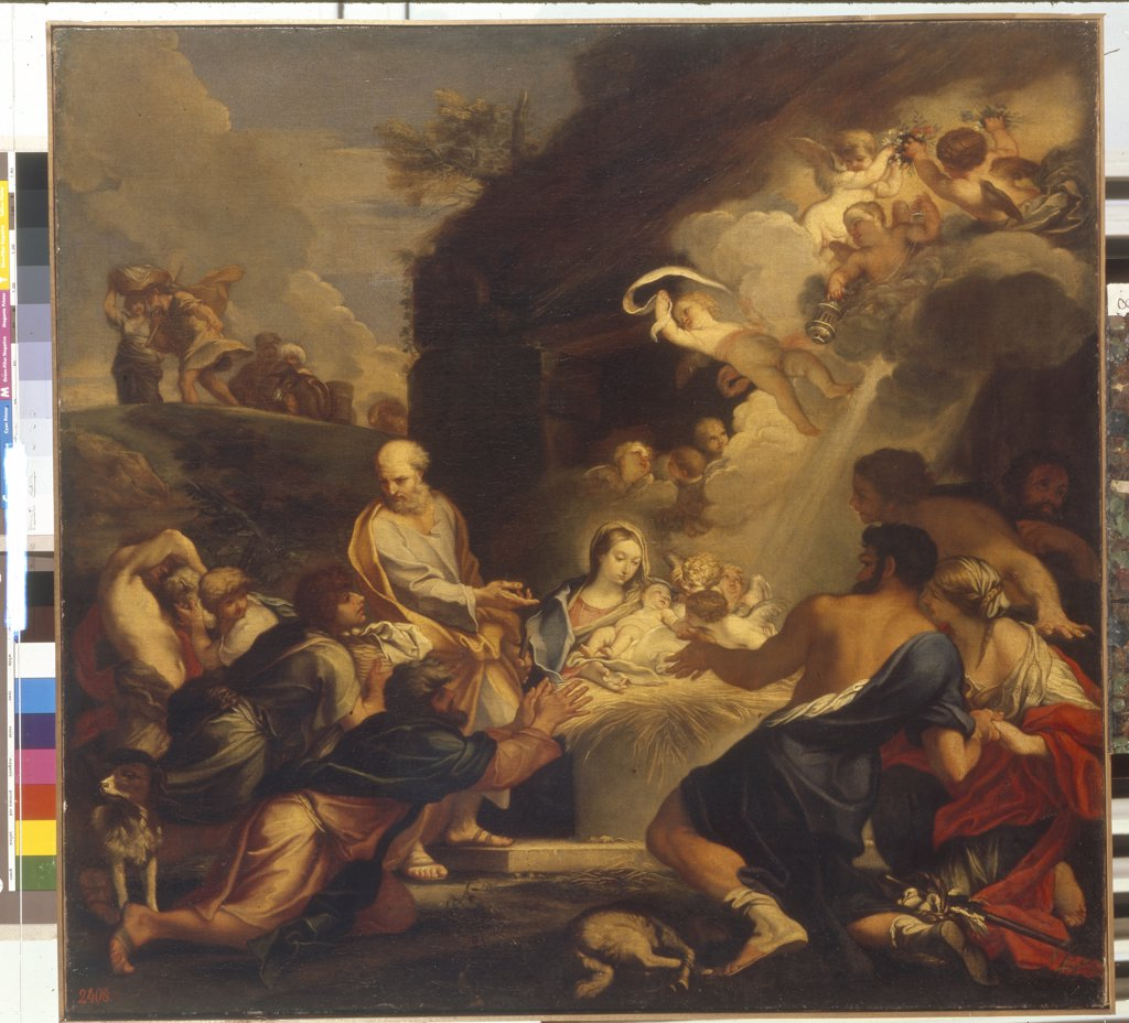 Adoration of Christ Child by Carlo Maratta, Oil on canvas, 1625-1713, Russia, St. Petersburg, State Hermitage, 94,5x97,5 : Stock Photo