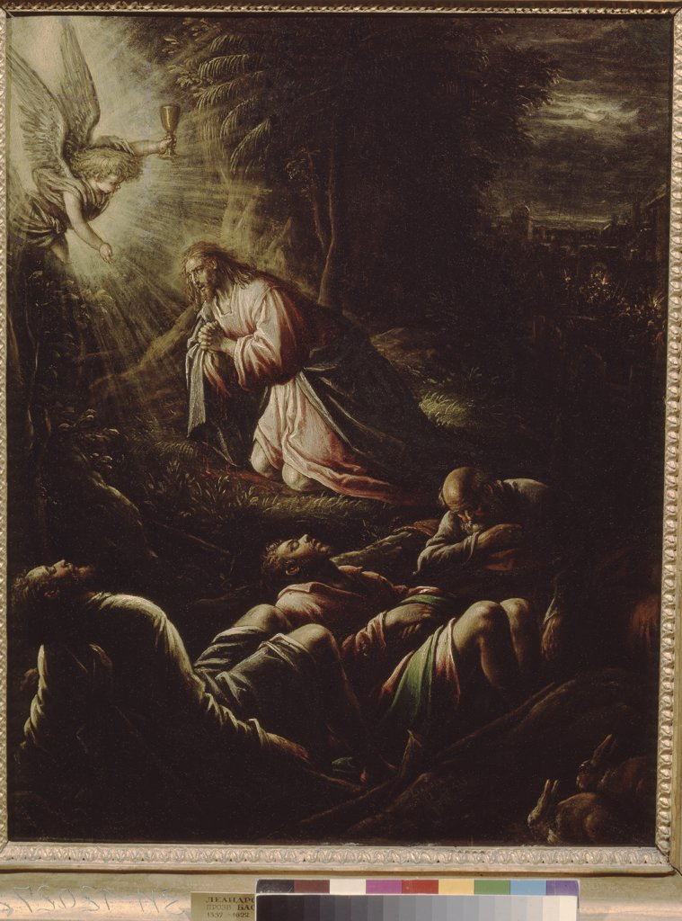 Stock Photo: 4266-6407 Jesus praying in Gethsemane garden by Leandro Bassano, oil on copper, circa 1595, 1557-1622, Venetian School, Russia, Moscow, State Pushkin Museum of Fine Arts, 54x42