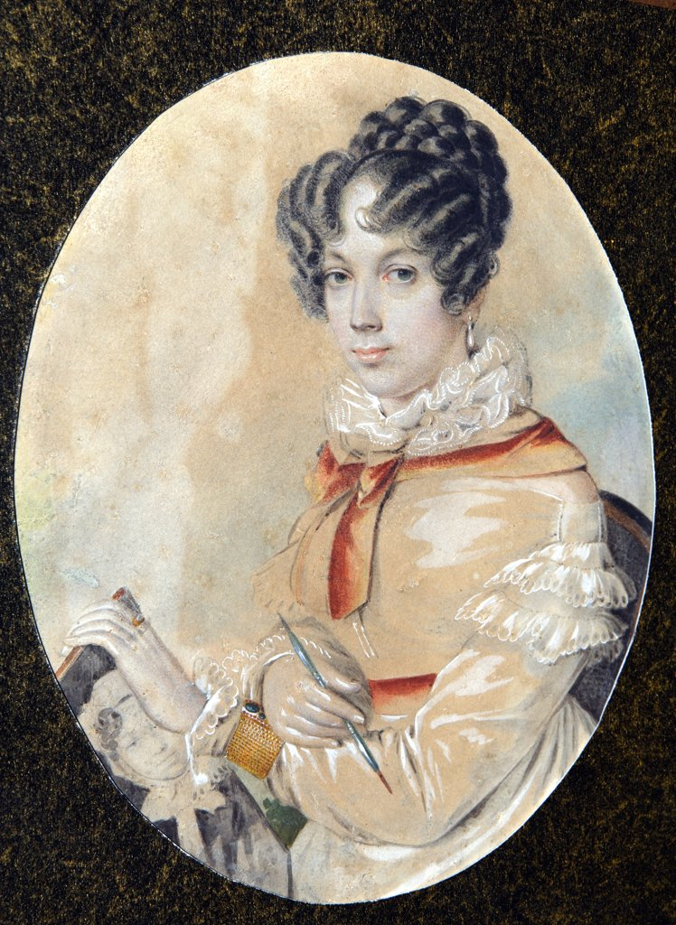Portrait of Natalia Fonvizina by unknown painter, watercolour, gouache on horn, 1820s, Russia, Moscow, State Museum of Pushkin : Stock Photo